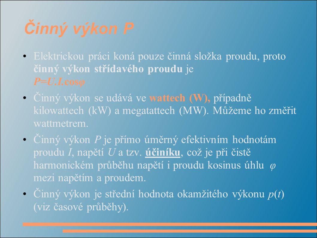 Činný výkon P Elektrickou práci koná pouze činná složka proudu, proto činný výkon střídavého proudu je P=U.I.cosφ Činný výkon se udává ve wattech (W), případně kilowattech (kW) a megatattech (MW).
