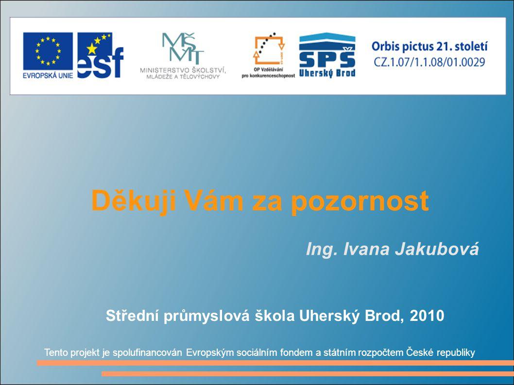 Děkuji Vám za pozornost Ing. Ivana Jakubová Tento projekt je spolufinancován Evropským sociálním fondem a státním rozpočtem České republiky Střední pr