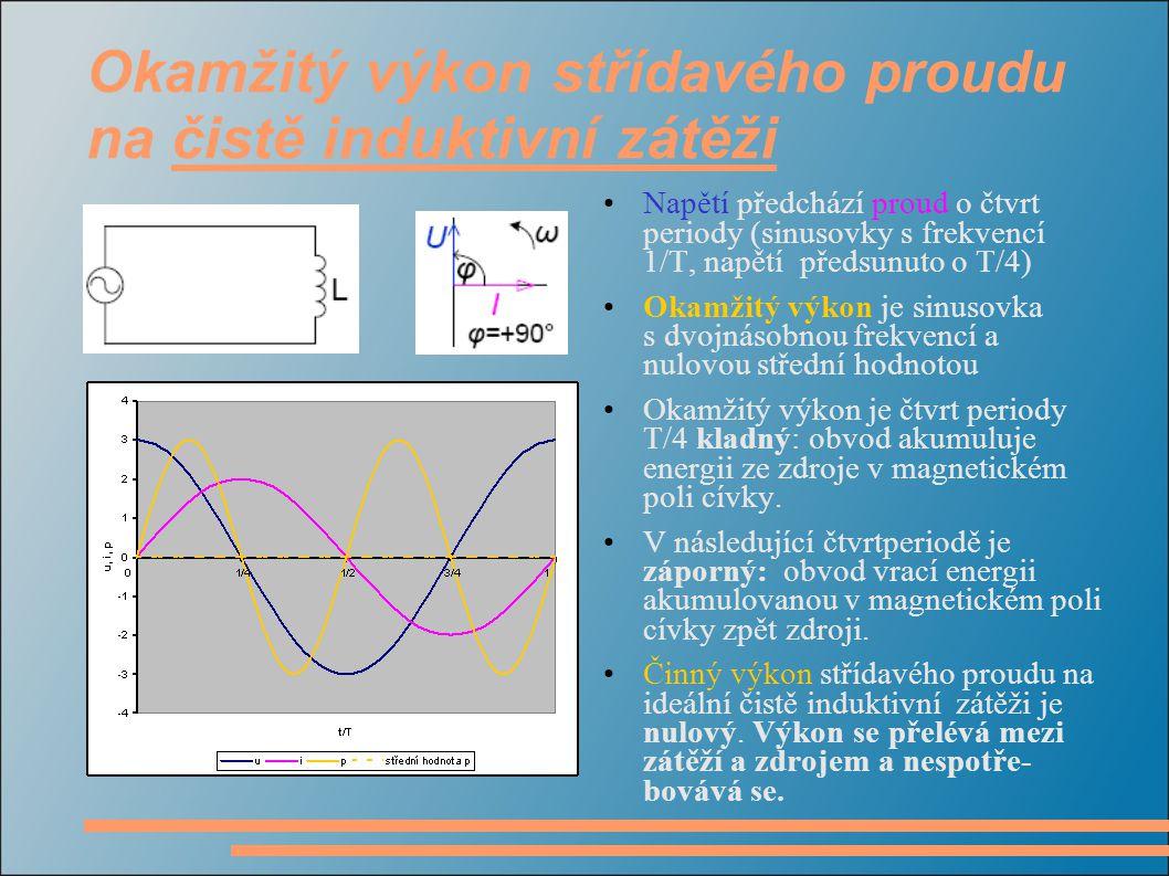 Okamžitý výkon střídavého proudu na čistě induktivní zátěži Napětí předchází proud o čtvrt periody (sinusovky s frekvencí 1/T, napětí předsunuto o T/4) Okamžitý výkon je sinusovka s dvojnásobnou frekvencí a nulovou střední hodnotou Okamžitý výkon je čtvrt periody T/4 kladný: obvod akumuluje energii ze zdroje v magnetickém poli cívky.