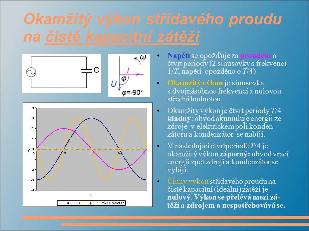 Okamžitý výkon střídavého proudu na čistě kapacitní zátěži Napětí se opožďuje za proudem o čtvrt periody (2 sinusovky s frekvencí 1/T, napětí opožděno o T/4) Okamžitý výkon je sinusovka s dvojnásobnou frekvencí a nulovou střední hodnotou Okamžitý výkon je čtvrt periody T/4 kladný: obvod akumuluje energii ze zdroje v elektrickém poli konden- zátoru a kondenzátor se nabíjí.