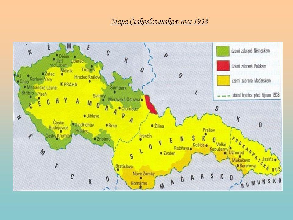 Mapa Československa v roce 1938
