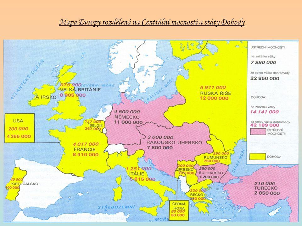 Mapa Evropy rozdělená na Centrální mocnosti a státy Dohody