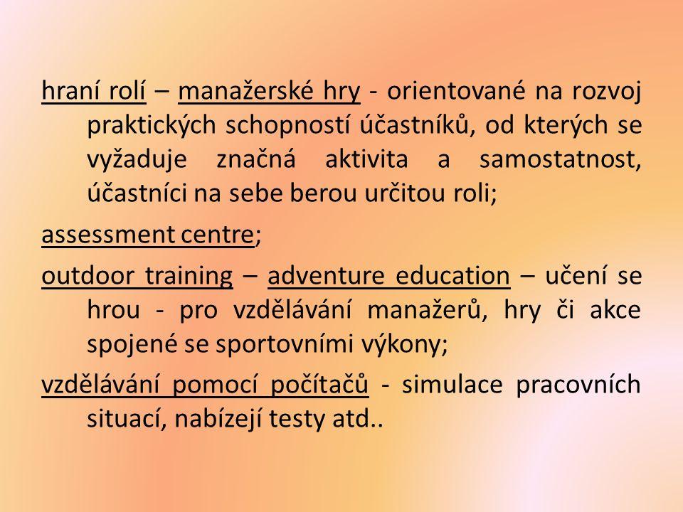 hraní rolí – manažerské hry - orientované na rozvoj praktických schopností účastníků, od kterých se vyžaduje značná aktivita a samostatnost, účastníci