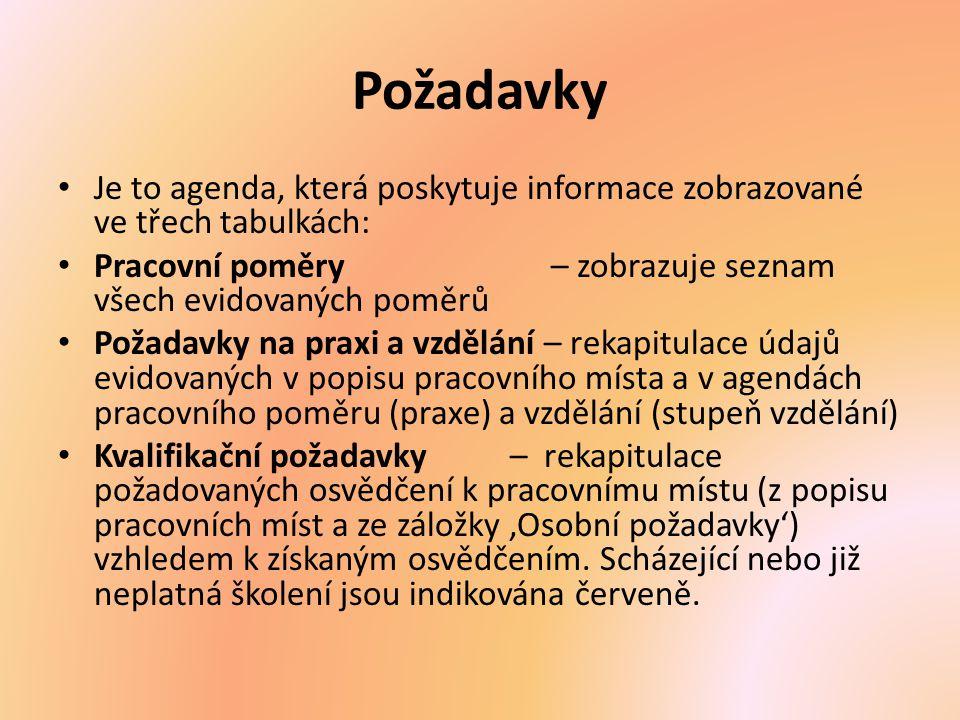 Požadavky Je to agenda, která poskytuje informace zobrazované ve třech tabulkách: Pracovní poměry – zobrazuje seznam všech evidovaných poměrů Požadavk