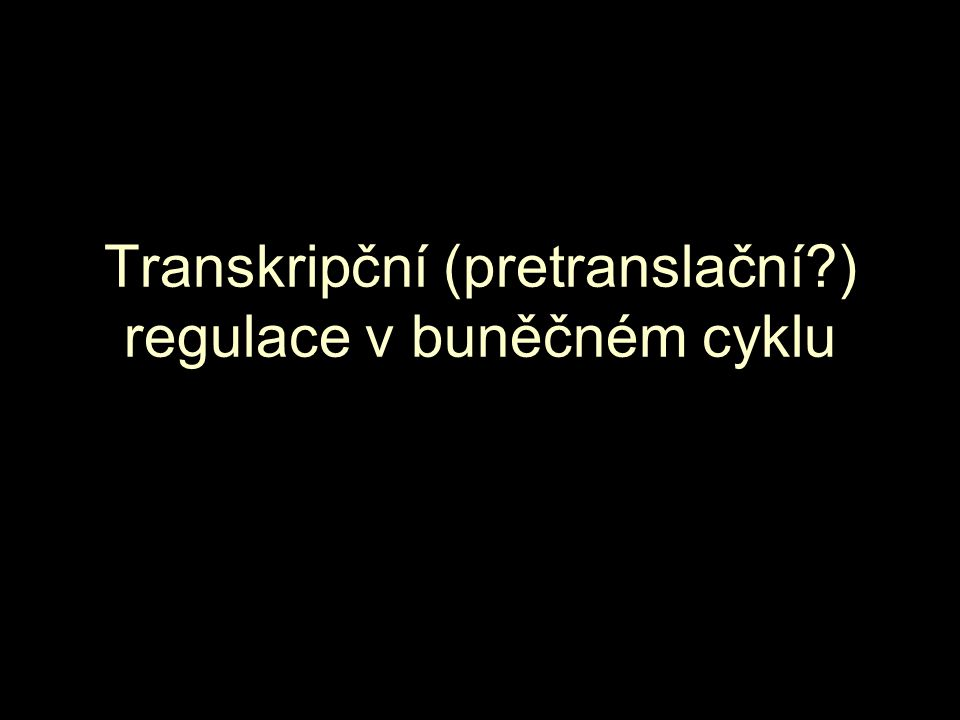 Transkripční (pretranslační ) regulace v buněčném cyklu