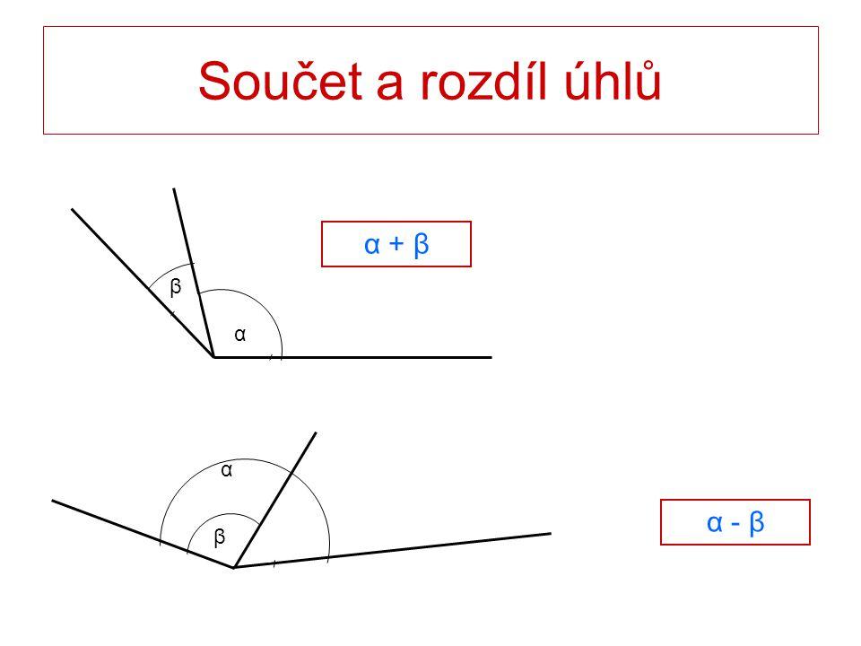 Součet a rozdíl úhlů α β α + βα + β α - β α β