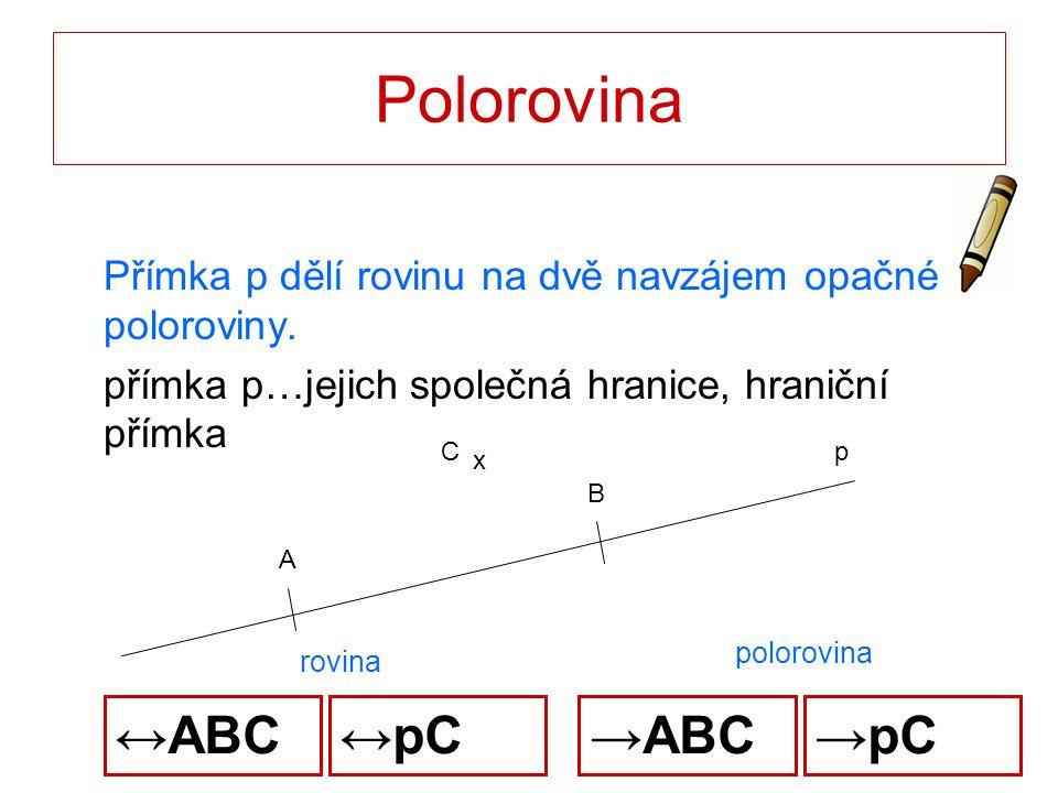 Polorovina Přímka p dělí rovinu na dvě navzájem opačné poloroviny. přímka p…jejich společná hranice, hraniční přímka p A B x C rovina polorovina →ABC↔