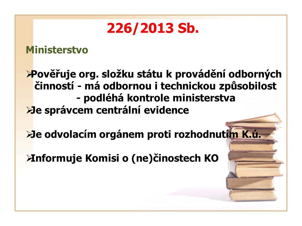 226/2013 Sb. Ministerstvo  Pověřuje org. složku státu k provádění odborných činností - má odbornou i technickou způsobilost - podléhá kontrole minist