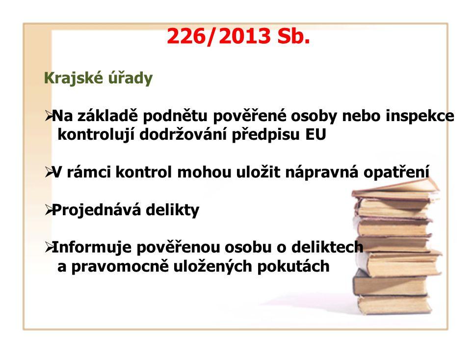 Krajské úřady  Na základě podnětu pověřené osoby nebo inspekce kontrolují dodržování předpisu EU  V rámci kontrol mohou uložit nápravná opatření  Projednává delikty  Informuje pověřenou osobu o deliktech a pravomocně uložených pokutách 226/2013 Sb.