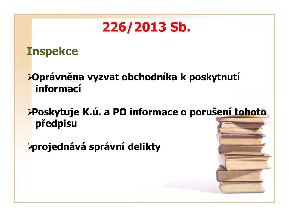 Inspekce  Oprávněna vyzvat obchodníka k poskytnutí informací  Poskytuje K.ú.