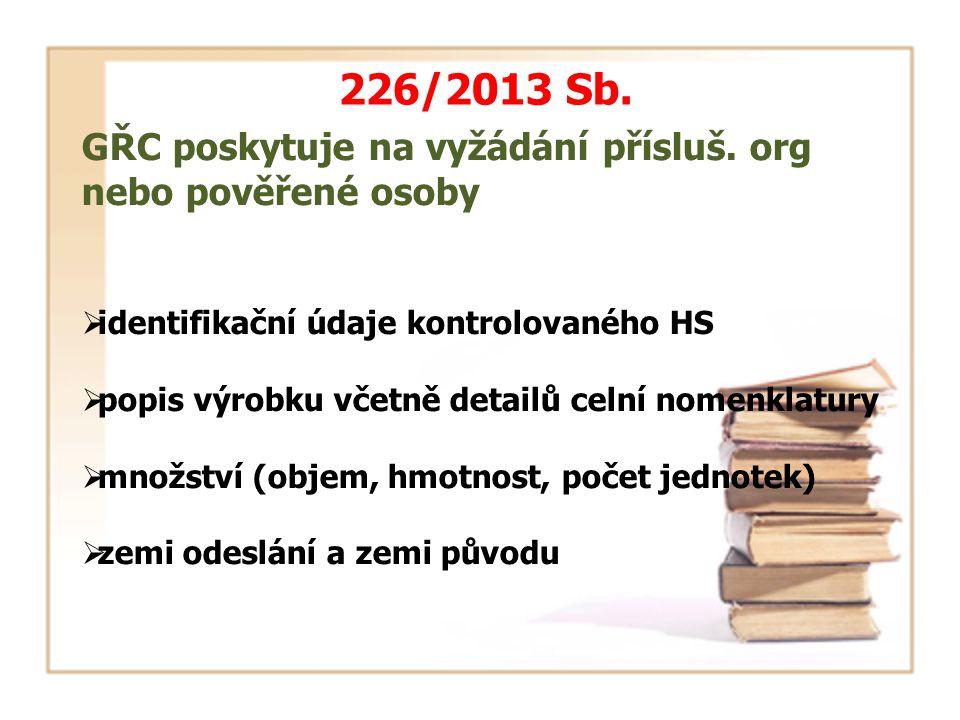 226/2013 Sb. GŘC poskytuje na vyžádání přísluš. org nebo pověřené osoby  identifikační údaje kontrolovaného HS  popis výrobku včetně detailů celní n