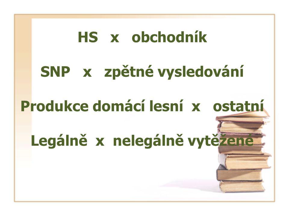 HS x obchodník SNP x zpětné vysledování Produkce domácí lesní x ostatní Legálně x nelegálně vytěžené