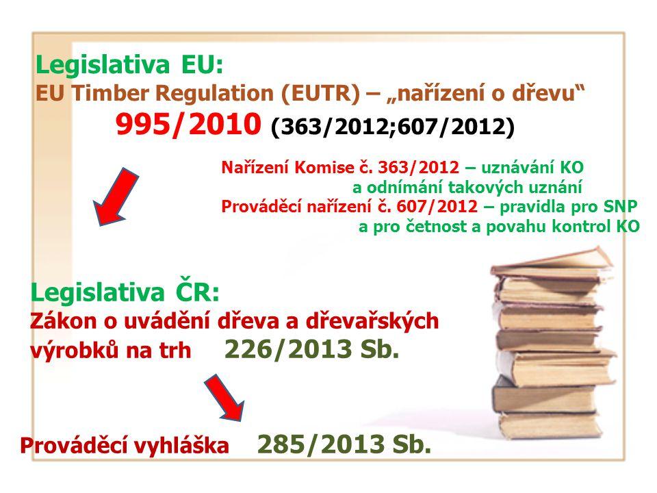 """Legislativa EU: EU Timber Regulation (EUTR) – """"nařízení o dřevu 995/2010 (363/2012;607/2012) Legislativa ČR: Zákon o uvádění dřeva a dřevařských výrobků na trh 226/2013 Sb."""