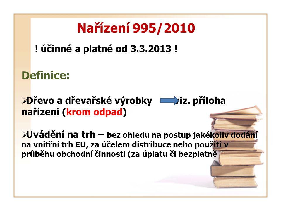 ! účinné a platné od 3.3.2013 ! Nařízení 995/2010 Definice:  Dřevo a dřevařské výrobky viz. příloha nařízení (krom odpad)  Uvádění na trh – bez ohle