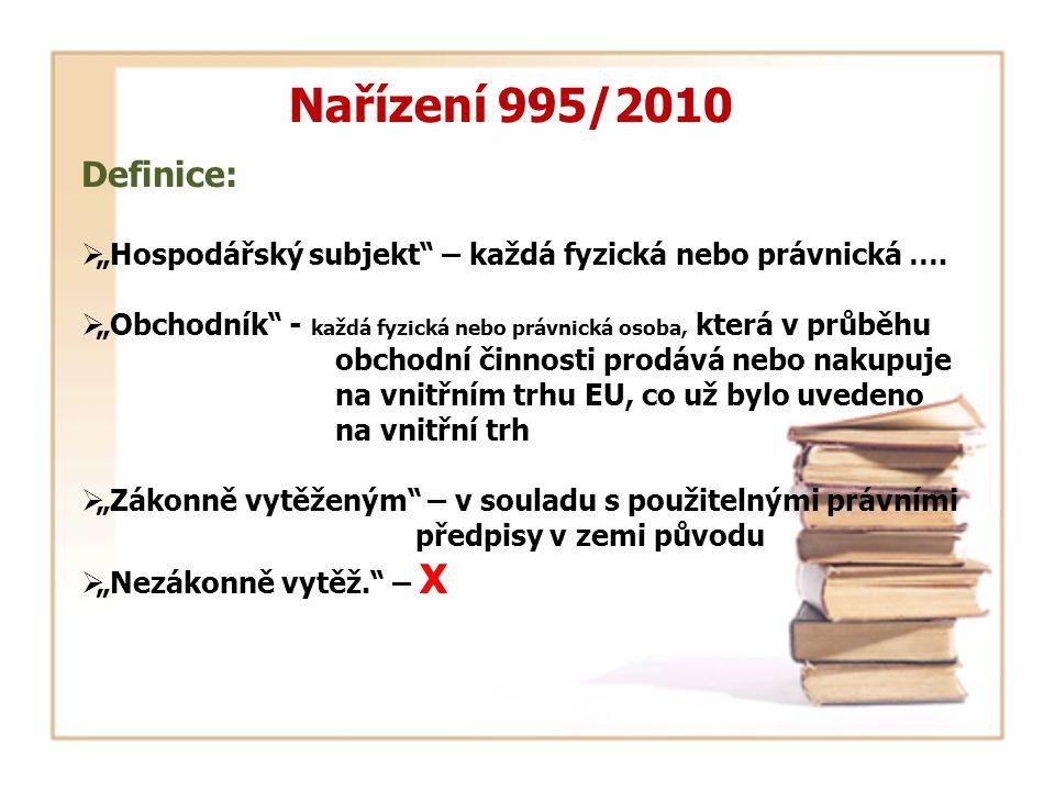 """Nařízení 995/2010 Definice:  """"Hospodářský subjekt"""" – každá fyzická nebo právnická ….  """"Obchodník"""" - každá fyzická nebo právnická osoba, která v průb"""