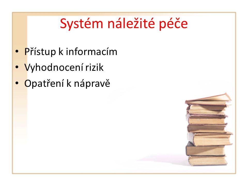Systém náležité péče Přístup k informacím Vyhodnocení rizik Opatření k nápravě