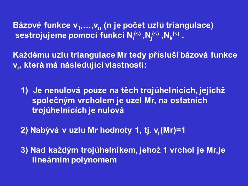 Bázové funkce v 1,…,v n (n je počet uzlů triangulace) sestrojujeme pomocí funkcí N i (s),N j (s),N k (s). Každému uzlu triangulace Mr tedy přísluší bá