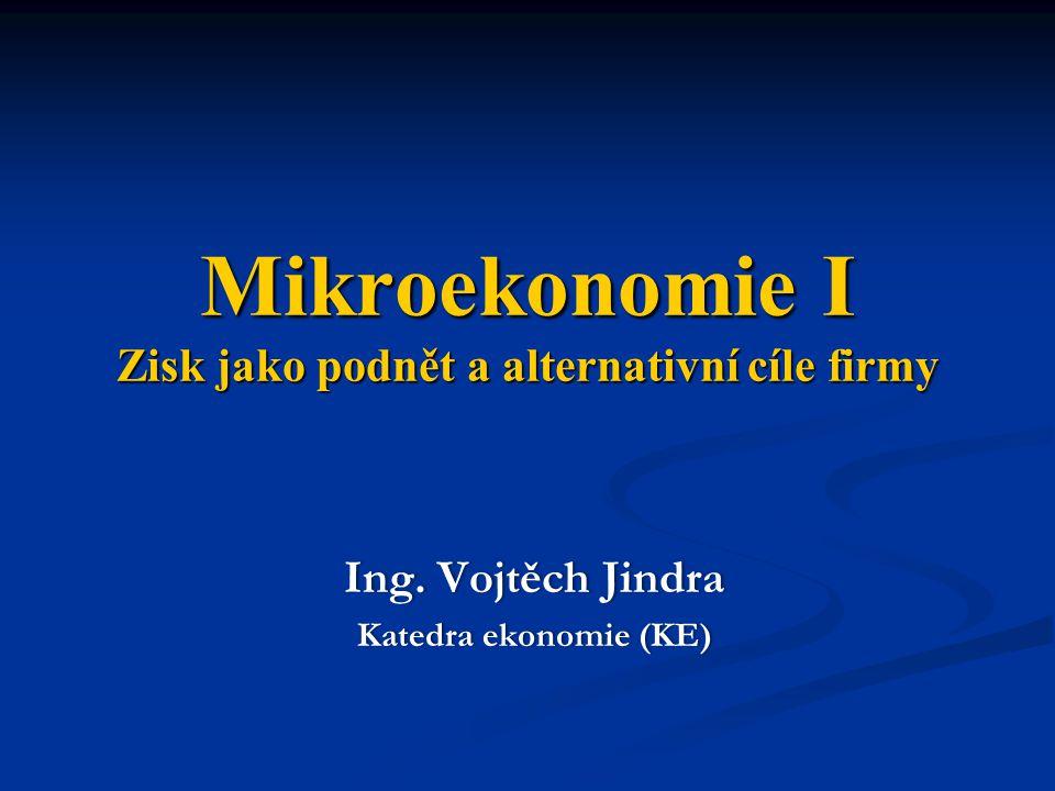 Mikroekonomie I Zisk jako podnět a alternativní cíle firmy Ing.