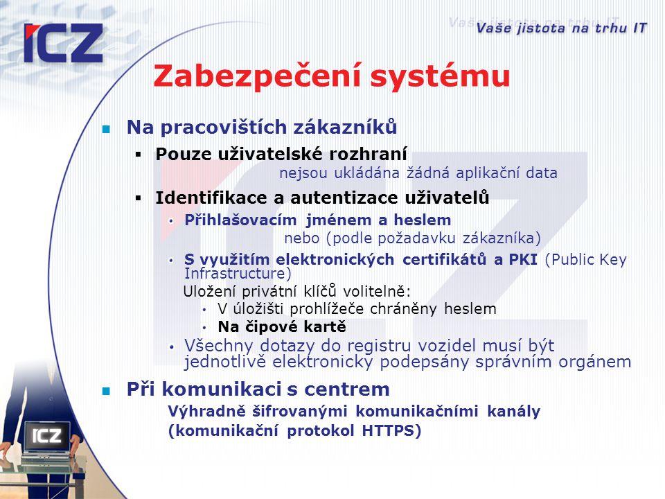 Zabezpečení systému Na pracovištích zákazníků  Pouze uživatelské rozhraní nejsou ukládána žádná aplikační data  Identifikace a autentizace uživatelů