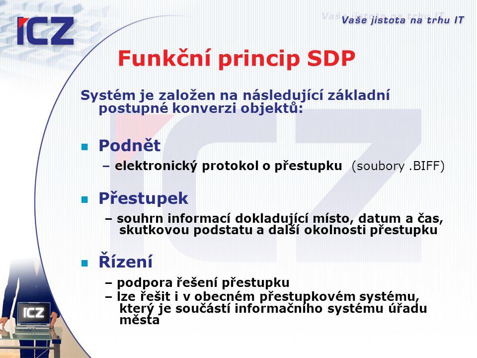 Funkční princip SDP Systém je založen na následující základní postupné konverzi objektů: Podnět – elektronický protokol o přestupku (soubory.BIFF) Pře