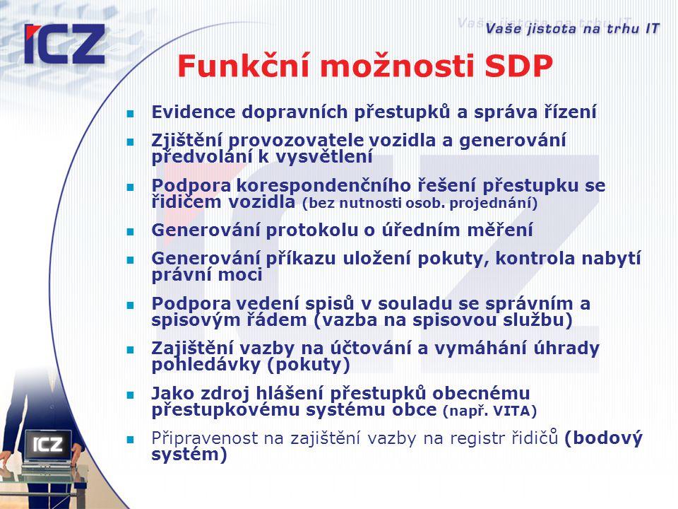 Funkční možnosti SDP Evidence dopravních přestupků a správa řízení Zjištění provozovatele vozidla a generování předvolání k vysvětlení Podpora korespo
