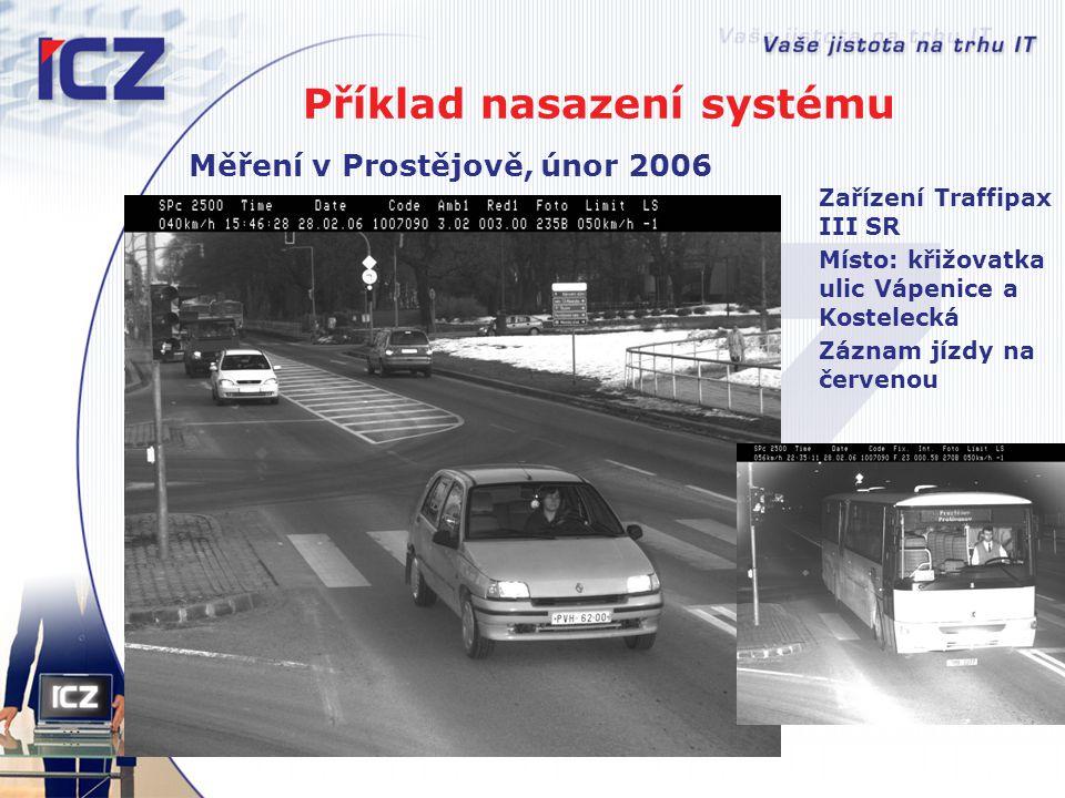 Příklad nasazení systému Měření v Prostějově, únor 2006 Zařízení Traffipax III SR Místo: křižovatka ulic Vápenice a Kostelecká Záznam jízdy na červeno