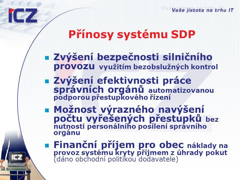 Přínosy systému SDP Zvýšení bezpečnosti silničního provozu využitím bezobslužných kontrol Zvýšení efektivnosti práce správních orgánů automatizovanou