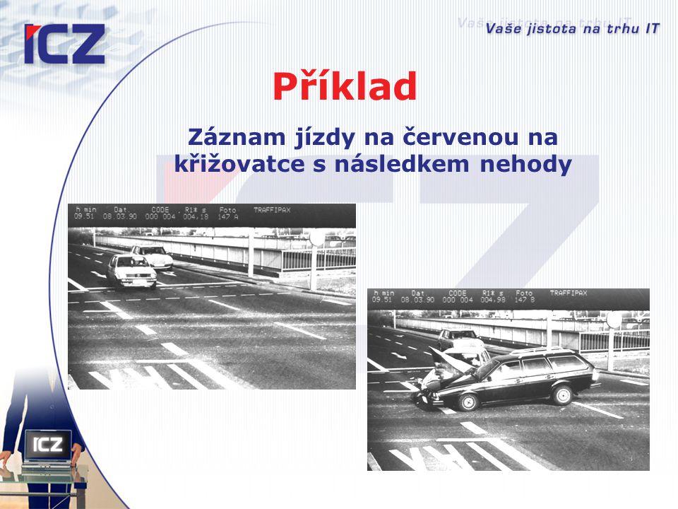 Příklad Záznam jízdy na červenou na křižovatce s následkem nehody
