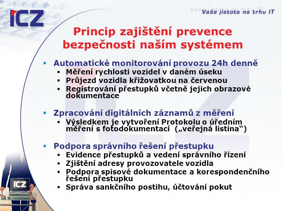 Princip zajištění prevence bezpečnosti naším systémem  Automatické monitorování provozu 24h denně  Měření rychlosti vozidel v daném úseku  Průjezd