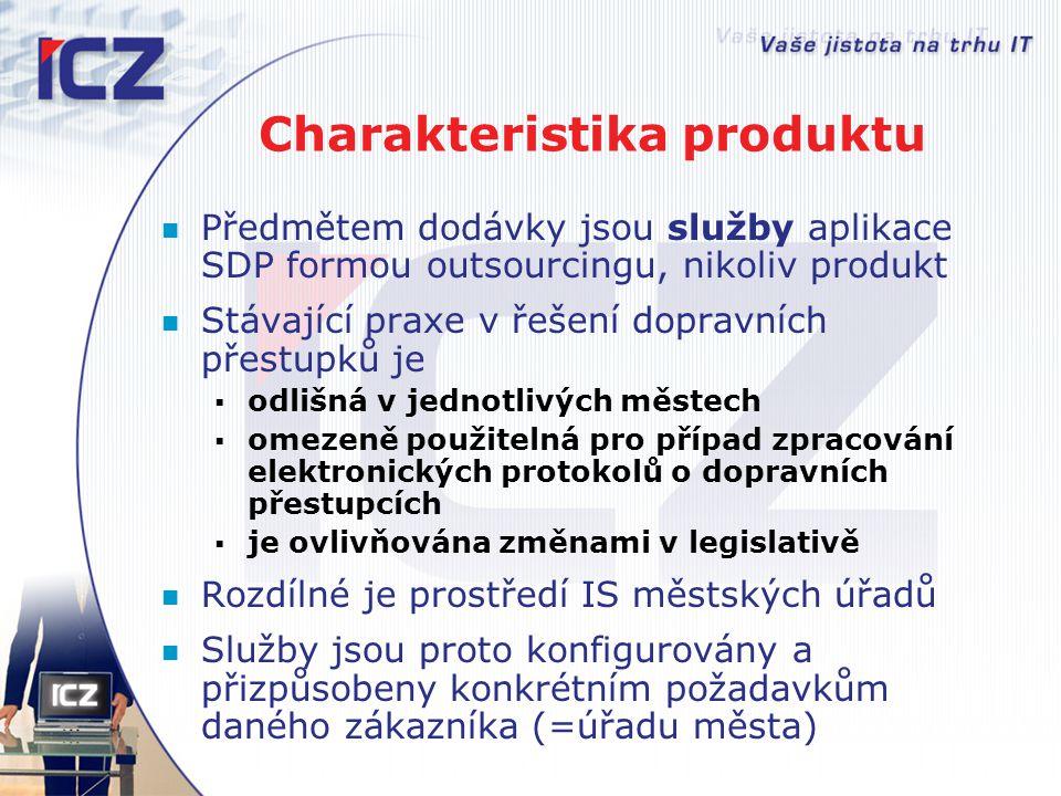 Charakteristika produktu Předmětem dodávky jsou služby aplikace SDP formou outsourcingu, nikoliv produkt Stávající praxe v řešení dopravních přestupků
