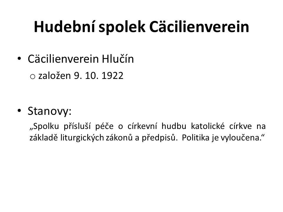 """Hudební spolek Cäcilienverein Cäcilienverein Hlučín o založen 9. 10. 1922 Stanovy: """"Spolku přísluší péče o církevní hudbu katolické církve na základě"""