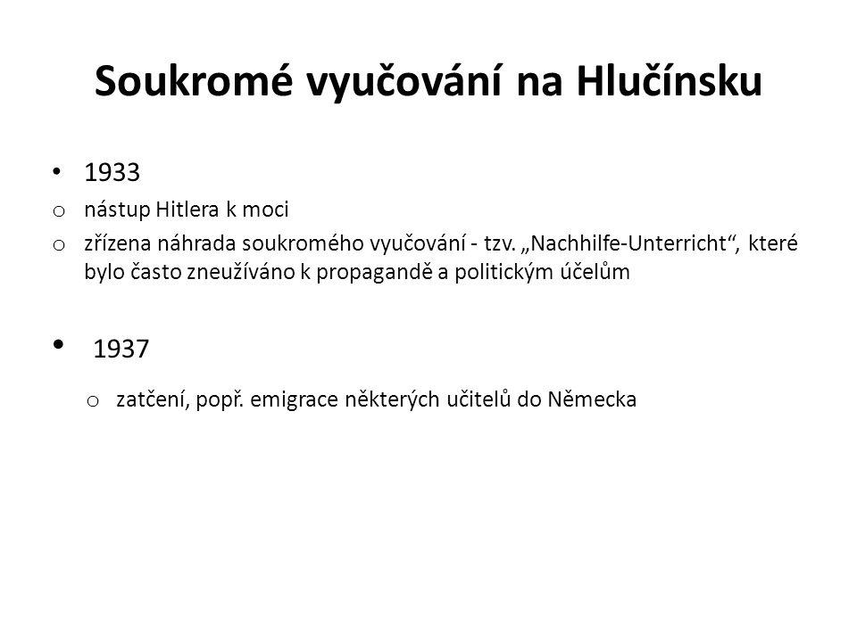 """Soukromé vyučování na Hlučínsku 1933 o nástup Hitlera k moci o zřízena náhrada soukromého vyučování - tzv. """"Nachhilfe-Unterricht"""", které bylo často zn"""