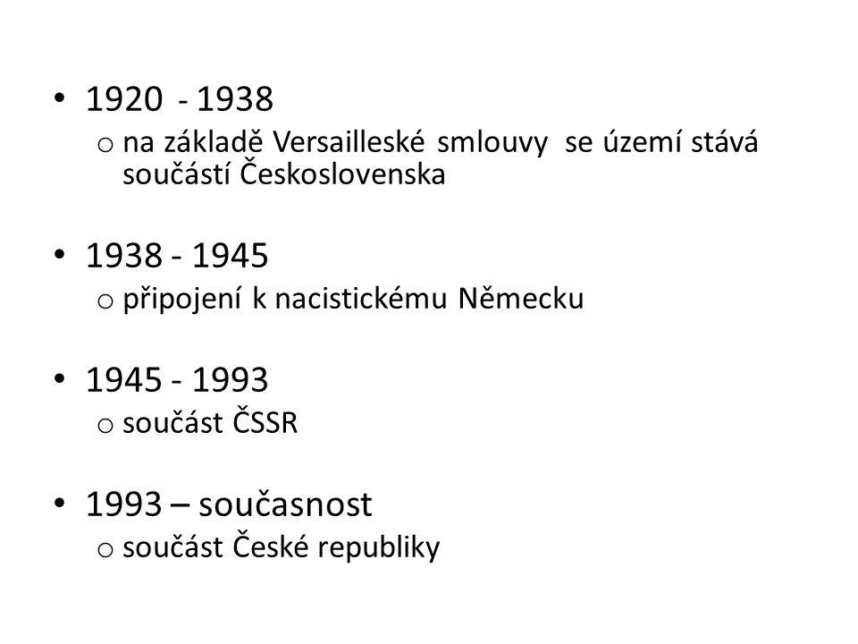 1920 - 1938 o na základě Versailleské smlouvy se území stává součástí Československa 1938 - 1945 o připojení k nacistickému Německu 1945 - 1993 o souč