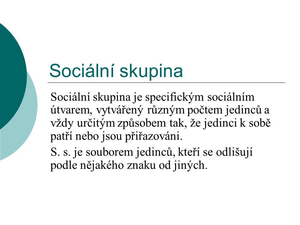 Sociální skupina Sociální skupina je specifickým sociálním útvarem, vytvářený různým počtem jedinců a vždy určitým způsobem tak, že jedinci k sobě pat