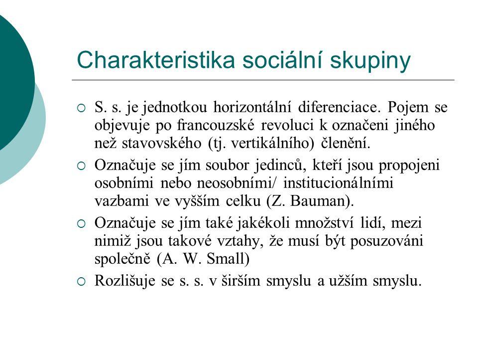 Charakteristika sociální skupiny  S. s. je jednotkou horizontální diferenciace. Pojem se objevuje po francouzské revoluci k označeni jiného než stavo