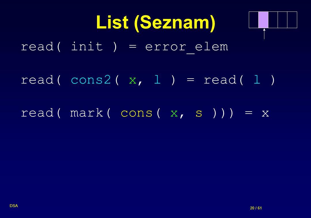 20 / 61 DSA List (Seznam) read( init ) = error_elem read( cons2( x, l ) = read( l ) read( mark( cons( x, s ))) = x