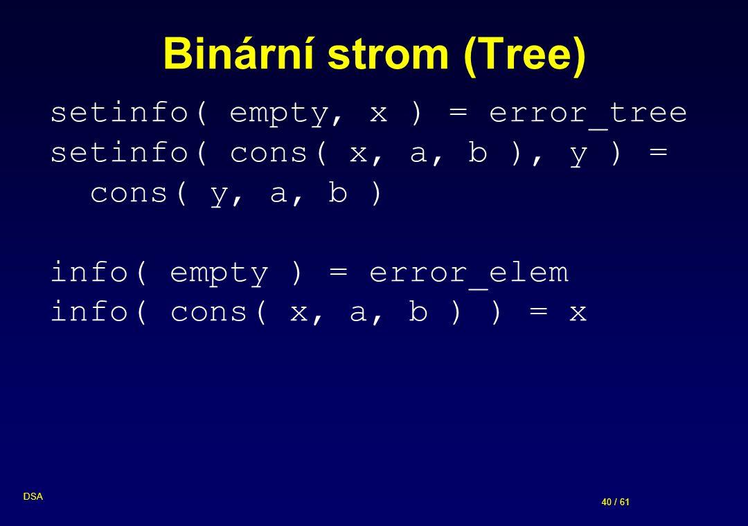 40 / 61 DSA Binární strom (Tree) setinfo( empty, x ) = error_tree setinfo( cons( x, a, b ), y ) = cons( y, a, b ) info( empty ) = error_elem info( cons( x, a, b ) ) = x