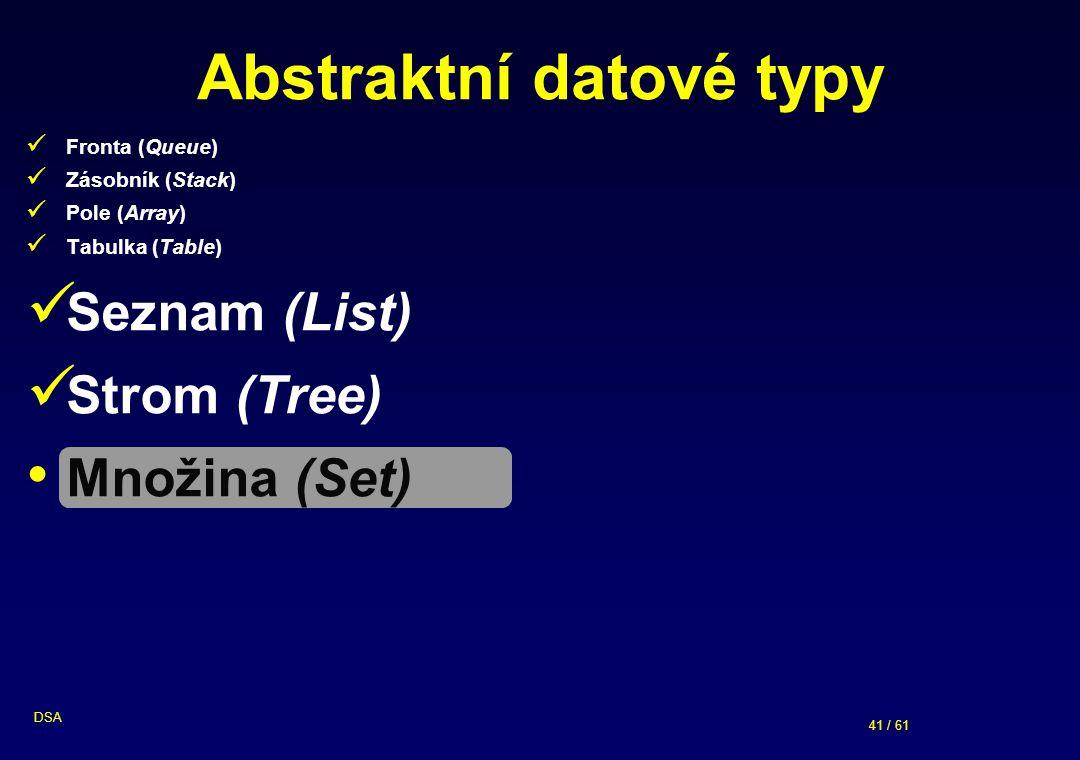 41 / 61 DSA Abstraktní datové typy Fronta (Queue) Zásobník (Stack) Pole (Array) Tabulka (Table) Seznam (List) Strom (Tree) Množina (Set)