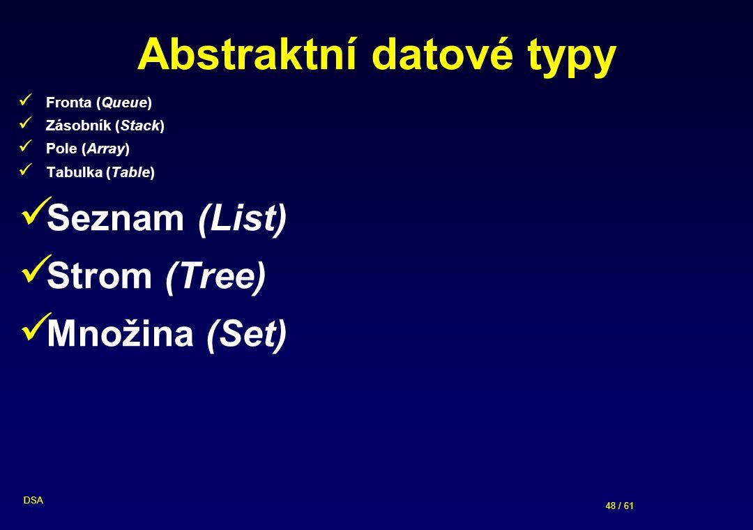 48 / 61 DSA Abstraktní datové typy Fronta (Queue) Zásobník (Stack) Pole (Array) Tabulka (Table) Seznam (List) Strom (Tree) Množina (Set)