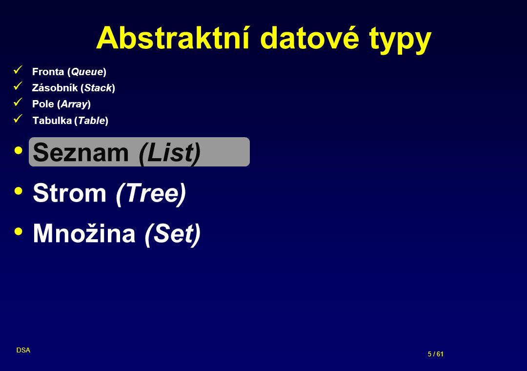 5 / 61 DSA Abstraktní datové typy Fronta (Queue) Zásobník (Stack) Pole (Array) Tabulka (Table) Seznam (List) Strom (Tree) Množina (Set)
