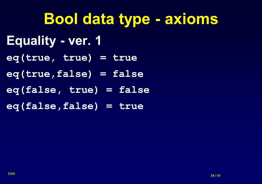 54 / 61 DSA Bool data type - axioms Equality - ver. 1 eq(true, true) = true eq(true,false) = false eq(false, true) = false eq(false,false) = true