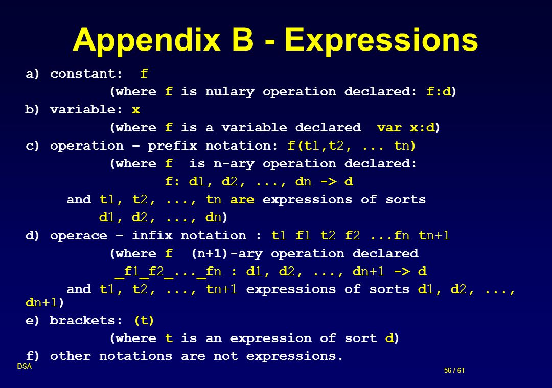 56 / 61 DSA Appendix B - Expressions a) constant: f (where f is nulary operation declared: f:d) b) variable: x (where f is a variable declared var x:d