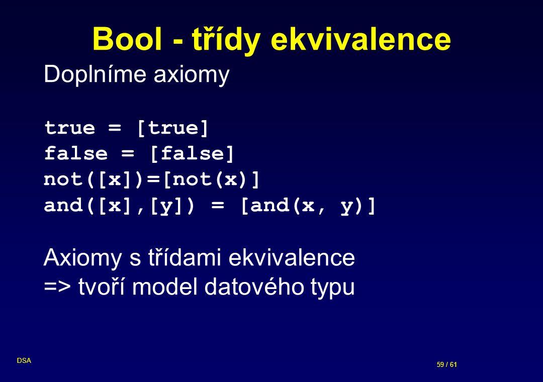 59 / 61 DSA Bool - třídy ekvivalence Doplníme axiomy true = [true] false = [false] not([x])=[not(x)] and([x],[y]) = [and(x, y)] Axiomy s třídami ekvivalence => tvoří model datového typu