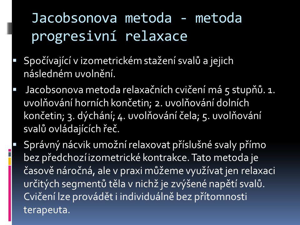 Jacobsonova metoda - metoda progresivní relaxace  Spočívající v izometrickém stažení svalů a jejich následném uvolnění.