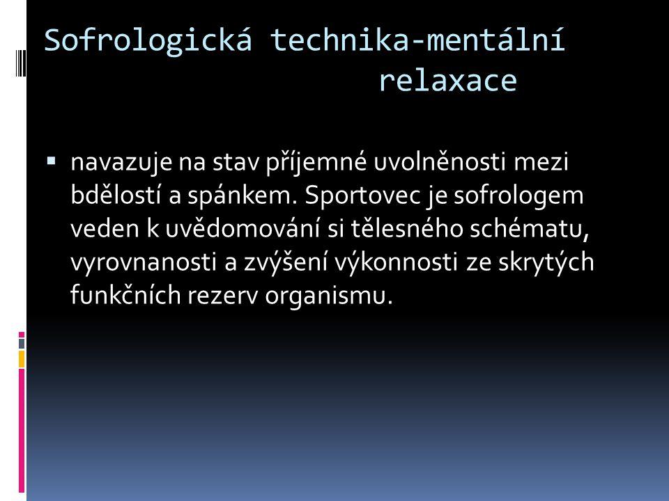 Sofrologická technika-mentální relaxace  navazuje na stav příjemné uvolněnosti mezi bdělostí a spánkem.