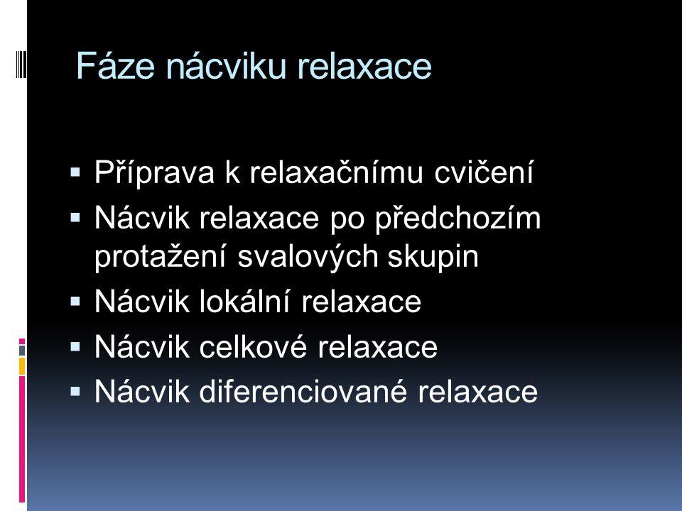 Fáze nácviku relaxace  Příprava k relaxačnímu cvičení  Nácvik relaxace po předchozím protažení svalových skupin  Nácvik lokální relaxace  Nácvik celkové relaxace  Nácvik diferenciované relaxace