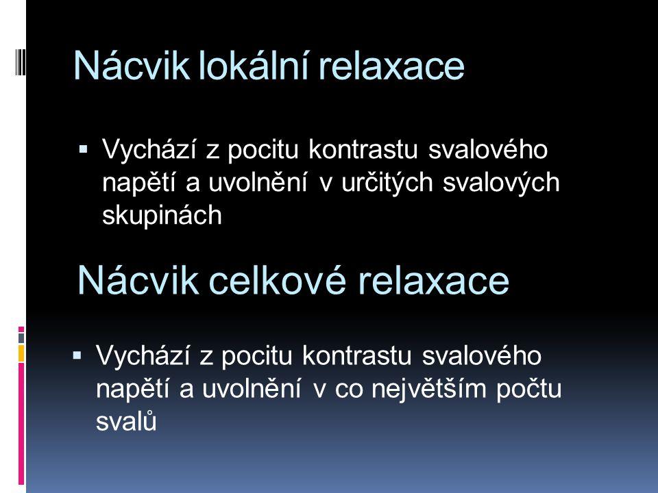 Nácvik lokální relaxace  Vychází z pocitu kontrastu svalového napětí a uvolnění v určitých svalových skupinách Nácvik celkové relaxace  Vychází z pocitu kontrastu svalového napětí a uvolnění v co největším počtu svalů