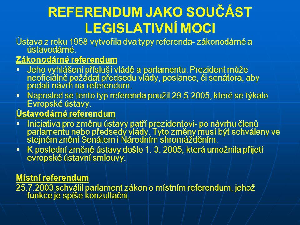 REFERENDUM JAKO SOUČÁST LEGISLATIVNÍ MOCI Ústava z roku 1958 vytvořila dva typy referenda- zákonodárné a ústavodárné. Zákonodárné referendum   Jeho