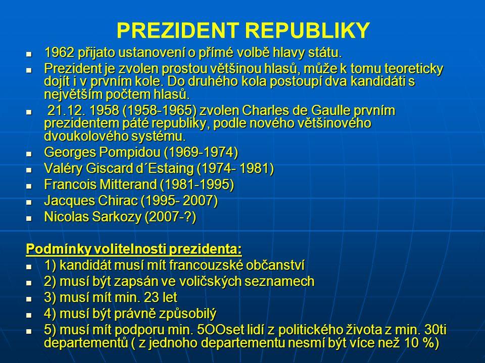PREZIDENT REPUBLIKY 1962 přijato ustanovení o přímé volbě hlavy státu. 1962 přijato ustanovení o přímé volbě hlavy státu. Prezident je zvolen prostou