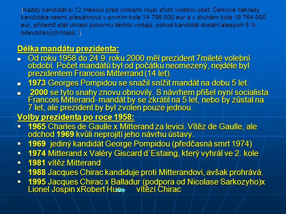 ( ) (Každý kandidát si 12 měsíců před volbami musí zřídit volební účet. Celkové náklady kandidáta nesmí přesáhnout v prvním kole 14 796 000 eur a v dr